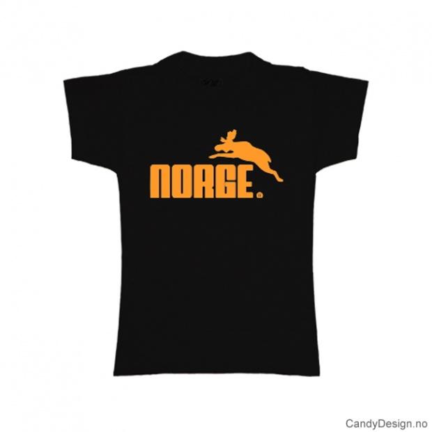 XS- Dame Classic T-skjorte sort med gull trykk - Norge + Elg