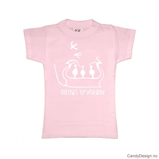 L- Dame Classic T-skjorte lys rosa med hvitt trykk - Vikings of Norway