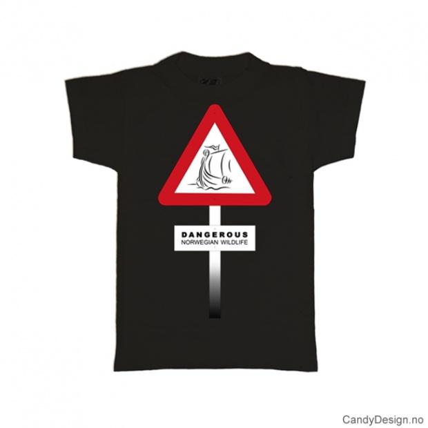 L- Herre Classic T-skjorte sort - Fareskilt med Dangerous Norwegian Vikings