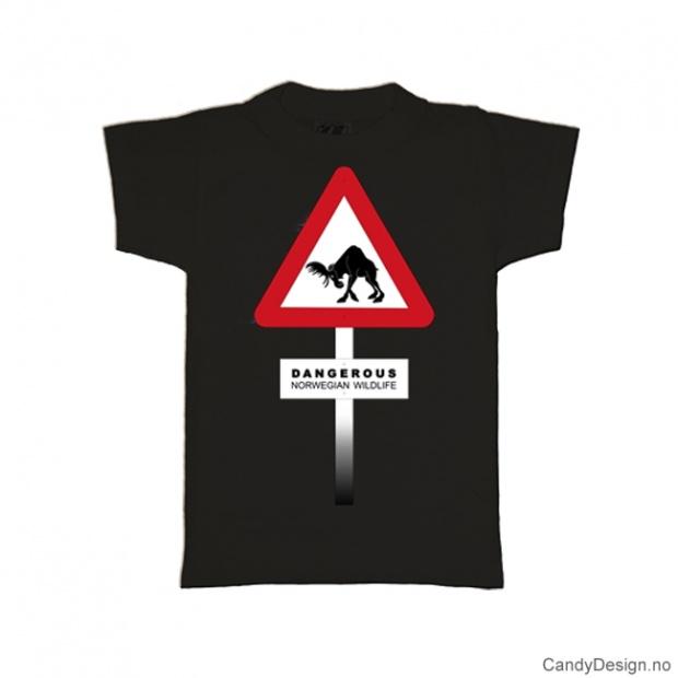 L- Herre Classic T-skjorte sort - Fareskilt med elg Dangerous Norwegian Wildlife