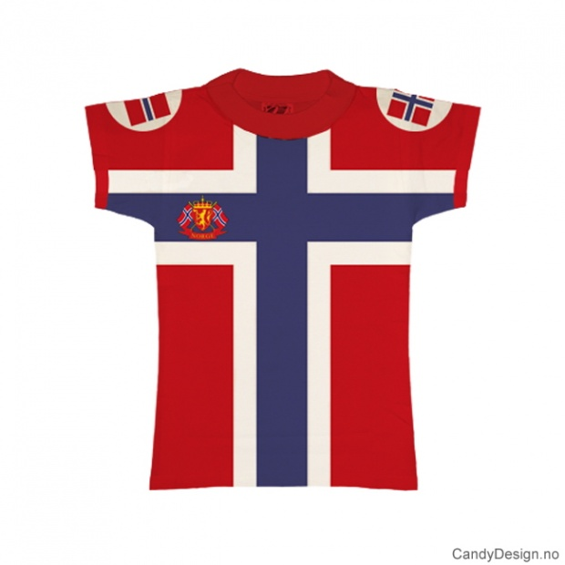 XS- Dame Classic T-skjorte rød med det Norske flagg