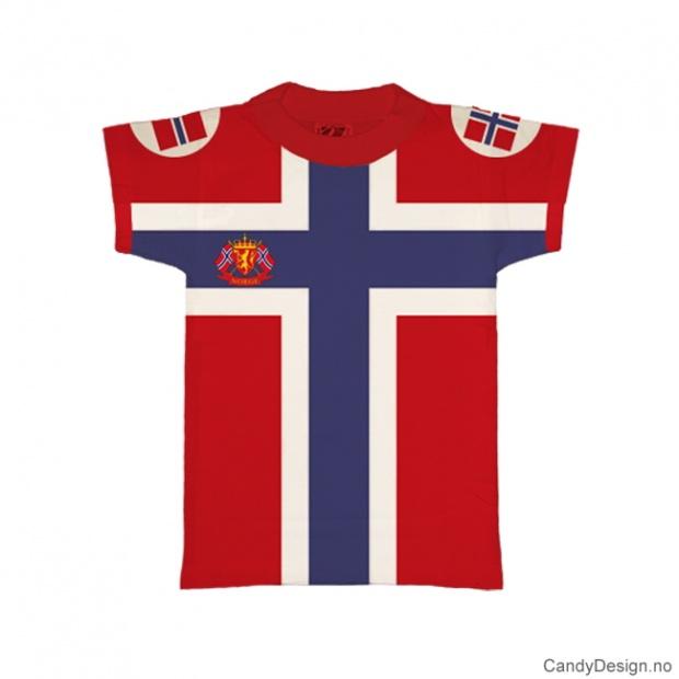 1-2 år- Barn Classic T-skjorte rød med det Norske flagg