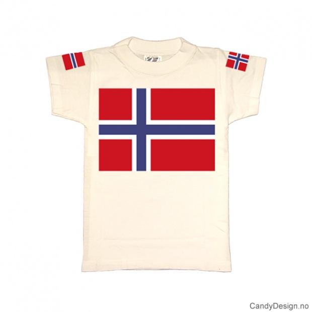 L- Herre Classic T-skjorte hvit med det Norske flagg på brystet