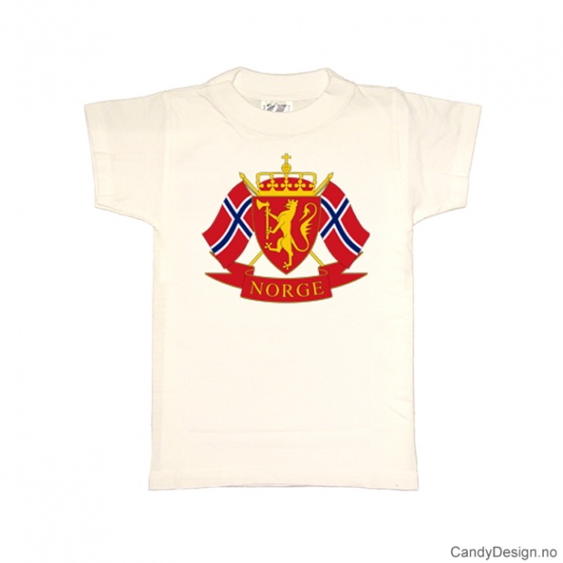 S- Herre Classic T-skjorte hvit med riksvåpenet og to Norske flagg