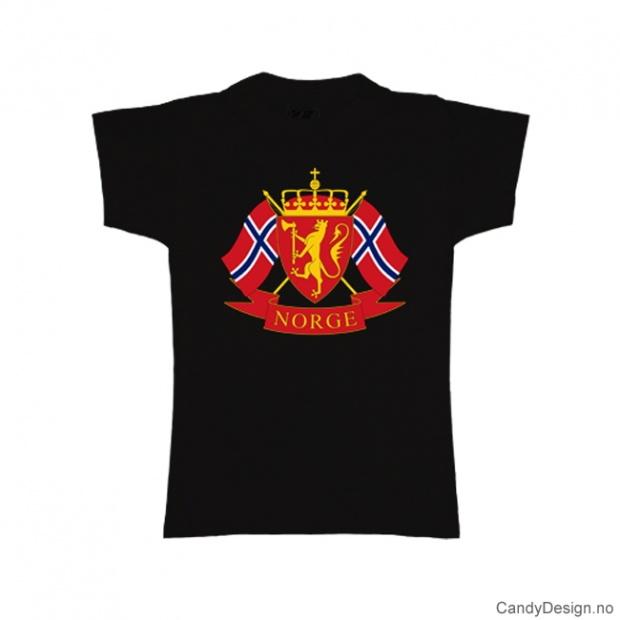 XS - Dame Classic T-skjorte sort med riksvåpenet og to Norske flagg