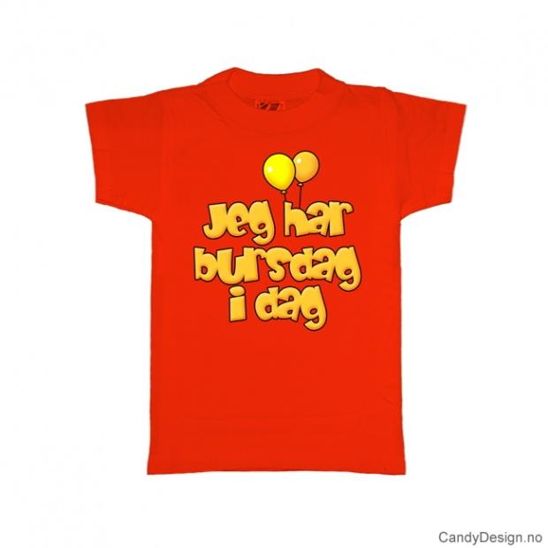 L - Dame T-skjorte - L - Jeg har bursdag i dag - rød