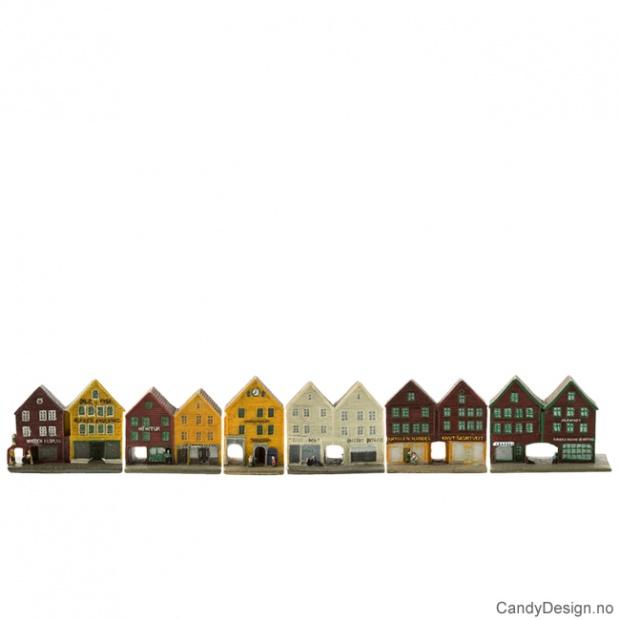 Bryggen i Bergen hus suvenir dobbel
