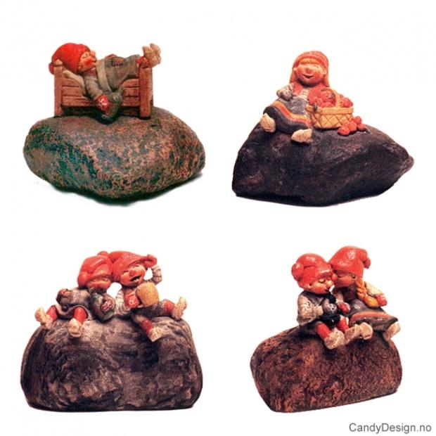 Julenisser på stein assortert