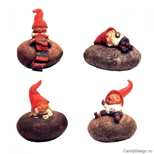 Julenisse figurer på stein assortert