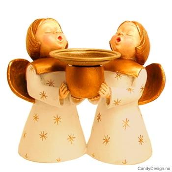 To engler med lysholder - Offwhite