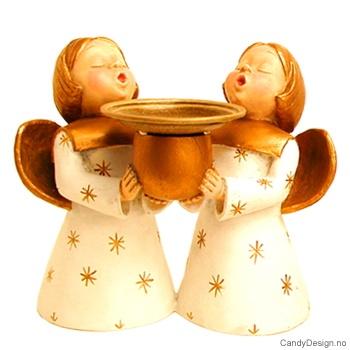 To engler med lysholder - Hvit