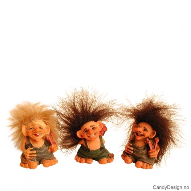 3 Minitroll med hår