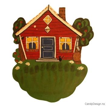 Stort rødt hus med gjerde