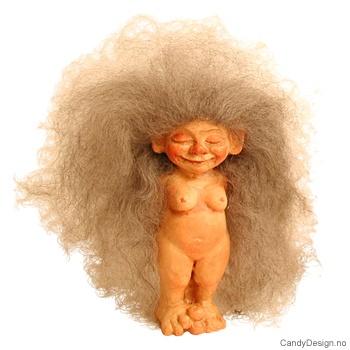 Nakne troll - Trolljente med saueskinnshår