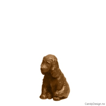 Kantsittende barn i bronse - Hund