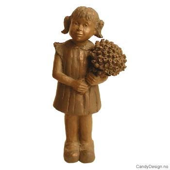 Jente med blomster - Bronse