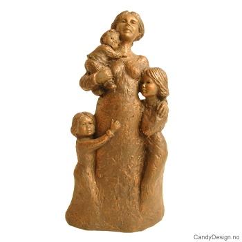 Skulptur bronse - Venter på far