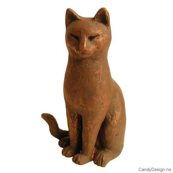 Katt skulptur med bronse finish