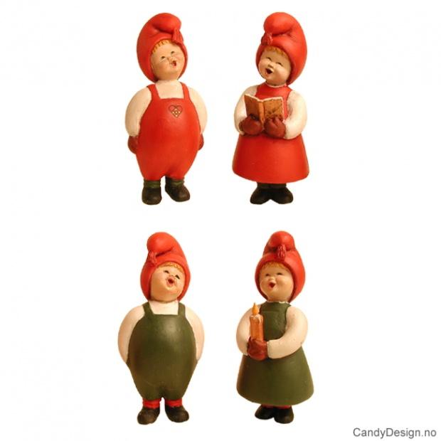 Syngende barn i rødt - 4 assortert