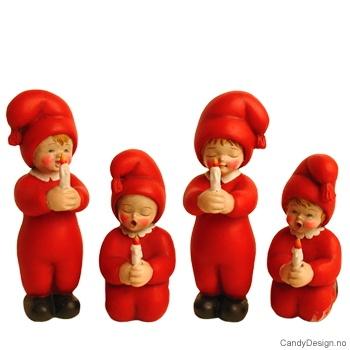 Nissebarn stående og sittende - Rød
