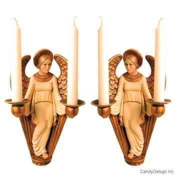 Engel med to lysholdere på vegg - Hvit