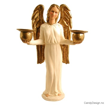 Stor engel med høye vinger og lysholder