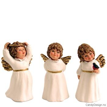 3 Små engler med ring, fugl m.m.