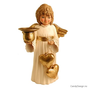 Engel med hjerter og bjeller - Offwhite