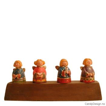 Sett med 4 korker med runde fargerike engler