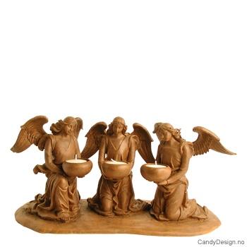 Tre engler med telysholder - Antikk