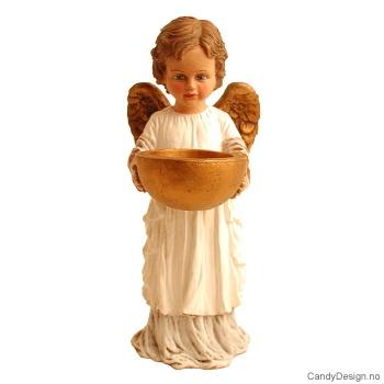 Liten stående engel med lysholder