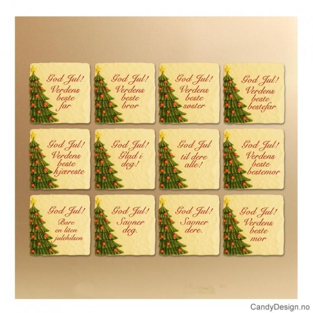 Store julemagneter med tekst og juletre