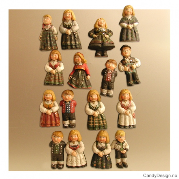Barn med bunad - magneter