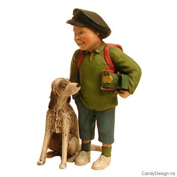 Barn med hund - Gutt med grønn polo