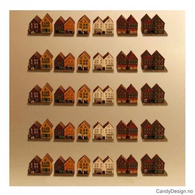 Bryggen i Bergen suvenir magnet - liten med løse hus