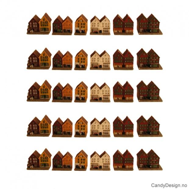 Bryggen i Bergen suvenir - liten med løse hus