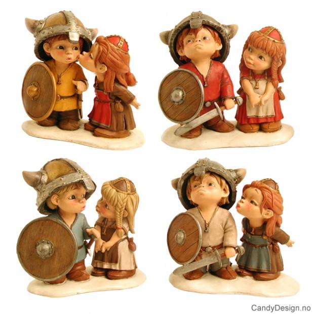 Store forelskede vikingebarn i par  - 4 stk. assortert