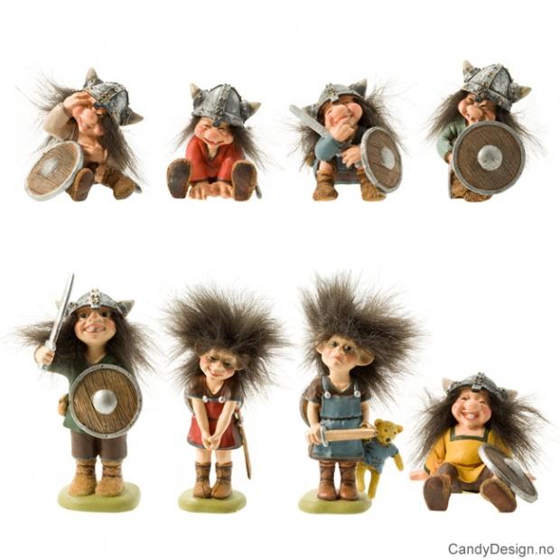 Vikingetroll suvenirer sittende og stående assortert