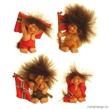 Troll med Norsk flagg assortert