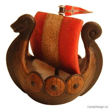 Vikingskip suvenir med seil