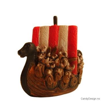 Vikingskip suvenir med vikinghoder