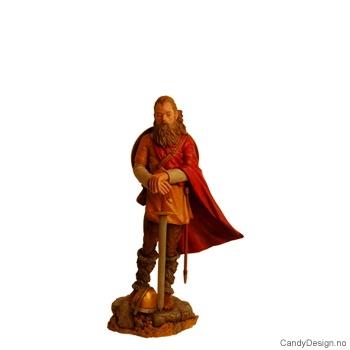 Viking kriger stående med sverd, hjelm og skjold i farger - medium