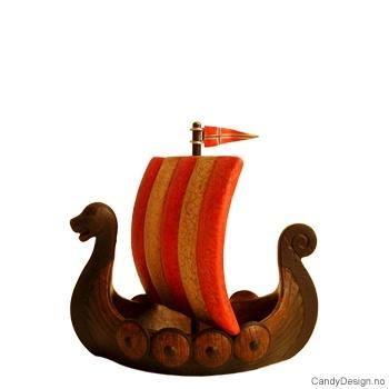 Vikingskip m/seil - langt mini
