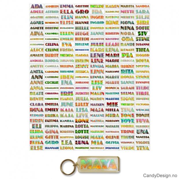 Assorterte Transparente nøkkelringer med jentenavn