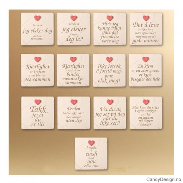 Magnetplater med rødt hjerte og tekst assortert