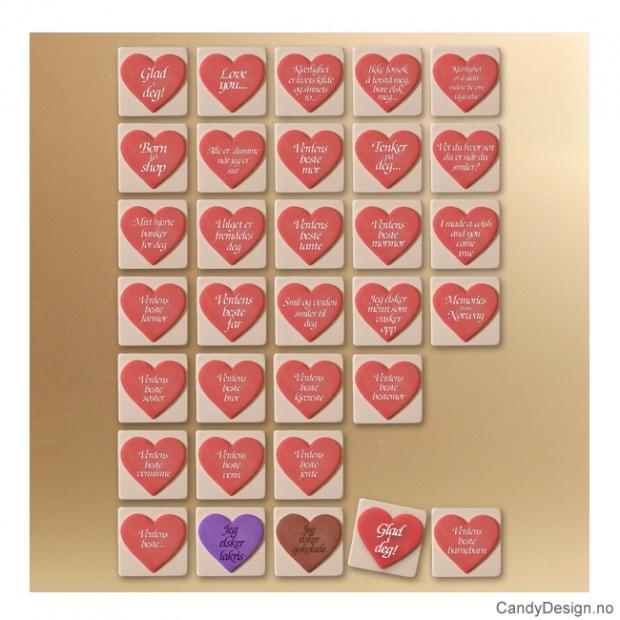 Hjertemagneter med tekst assortert