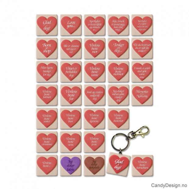 Hjerte nøkkelringer med tekst assortert