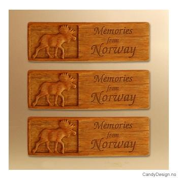Woodstyle magnet plater med tekst - Elg magnet Memories from Norway