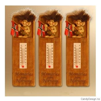 Troll med flagg termometer med magnet  Memories from Norway