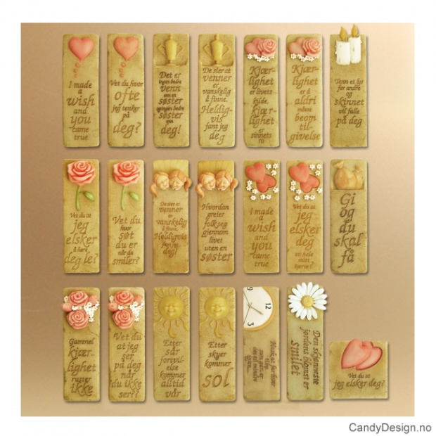 Assorterte avlange magneter med kjærlighetsord